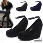 New Celebrity Women's Faux Suede Thin Ankle Strap Heel Shoe HIGH PLATFORM WEDGES