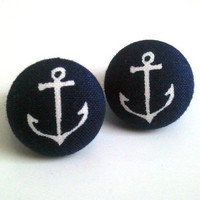 Navy blue nautical sailor anchor fabric button earrings
