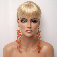 Wisteria lace earrings burnt orange