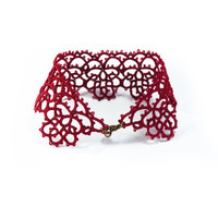 Burgundy oxblood  red cuff bracelet lace bracelet tatting jewelry bracelet lace terracotta