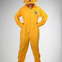 Adventure Time &#x27;Jake&#x27; Footed Hooded Adult Pajamas