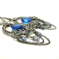 Dangle silver wire wrapped earrings , blue quartz , feminine , long