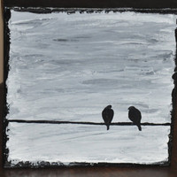 Acrylic Bird Painting on Canvas - 8x8 Original