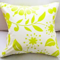 "Pillow Slip Cover Decorative Fall Pillow Covers 18x18 Decorative Pillow Lime & White ""Color Me Crazy"" Fall Collection"