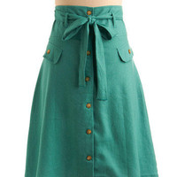 Button Shop Regular Skirt in Peruse | Mod Retro Vintage Skirts | ModCloth.com