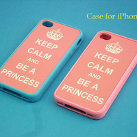 iphone 4 case -  Keep Calm series, iphone 4 case, iphone 4S case in pink or blue silicone case