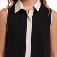 Sleeveless Button-up Blouse $30