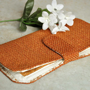 Women's fabric bifold wallet - beautiful orange and cream colored clutch wallet with zipper and many pockets