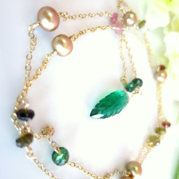 Romantic rainbow tourmaline gold pearl rosary green quartz leaf gold filled necklace