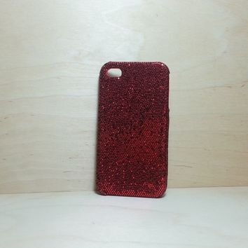 For Apple iPhone 4 / 4s Red Glitter Case