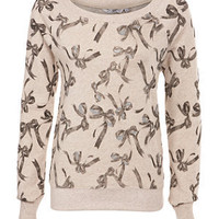 Oatmeal Sparkly Bow Print Sweater