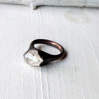 Copper Ring Raw Quartz Mineral Crystal Ice Cocktail Ring Natural Gem Stone Patina Artisan Handmade