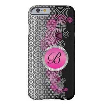 Mesh Steel with Circular Silver and Pink on Black