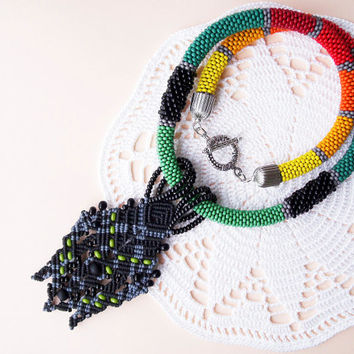 Bead crochet necklace, rope with micro macrame pendant - Colorful Black Unique Beadwork