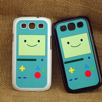 Samsung Galaxy S3 case --Adventure time beemo BMO,plastic case side in black or white