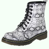 Platinum Lace Up Combat Boots in Python Print | MessesOfDresses.com