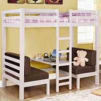 Amazon.com: Twin Size Convertible Loft Bed in White Finish: Home &amp; Kitchen