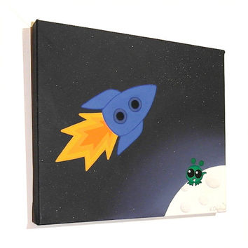 Rocket to the Moon - acrylic painting of a little green alien watching a blue spacecraft fly by