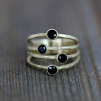 14k Yellow Gold Confetti Ring, Multi Stone Ring in Black Spinel and Rustic Finish Recycled Gold
