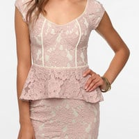 Pins and Needles Two-Tone Lace Peplum Dress