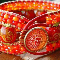 Wooden Beads and Czech Glass Tangerine Dreams 3 Row Single Wrap