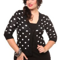 Black and White Polka Dot Lace Back Cardigan