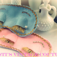 Breakfasts at Tiffany's inspired sleeping mask. Available in Pink or Blue, Sleeping mask,Mask