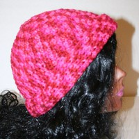 Variegated Hot Pink Crocheted Winter Cap
