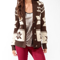 Shawl Collar Geo Cardigan