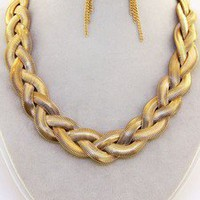Striking Bold Design Chunky Gold Snake Chain Braid Necklace Set Elegant Jewelry