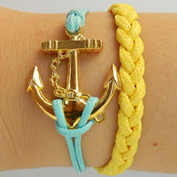 Golden Anchor Jewelry  Bangle bracelet  minimalist bracelet Gold Anchor bracelet  Men or Women  Soft Leather Bracelet