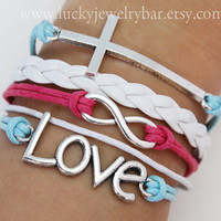 Cross bracelet, Love bracelet, infinity bracelet, white leather bracelet