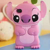 1 x Disney Lilo Stitch Die Cut 3D Case Cover Skin House For iPhone 4 4G 4S Pink