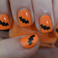 SALE 20% Off Black Bats Vinyl Nail Decals - Halloween Collection- Set of 50