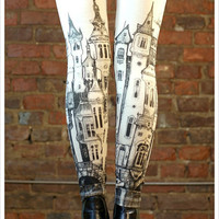 Victorian City Leggings - Womens Off White Legging tights - SMALL