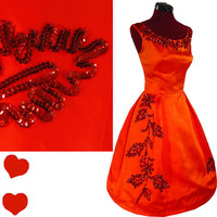 Dress Vintage 50s 60s EMMA DOMB Satin PROM Party Dress S Red Orange Sequin Full Skirt