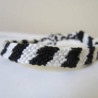 Black and White Braided Friendship Bracelet