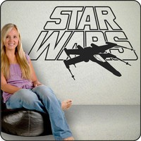 Large Star Wars logo Wall Decals Stickers with XWing by redeyesign