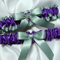 Purple and Sage Green Satin Wedding Garter Set w/ Swarovski Crystal......