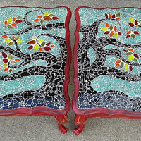 Mosaic Coffee End Tables OOAK Tree Aqua Red Black Green Yellow Orange