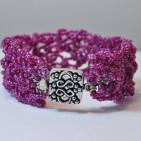 Crocheted Triple Row Purple Beaded Bracelet