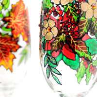 Hand Painted Glass, Winter, Seasona.. on Luulla