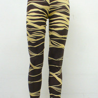 SALE Chocolate Brown Zebra Leggings