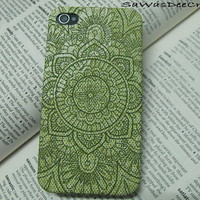 Juniper Green Bohemian pattern: iPhone 4s case/ iPhone 4s cover / iPhone 4 Case / iPhone 4 Cover , Decoupage Technique By SaWasDeeCraft
