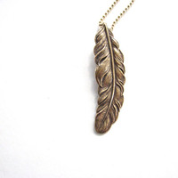 golden feather necklace - unisex jewelry / mens or womens feather necklace
