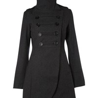 Ichi Military style double breasted coat Grey - House of Fraser