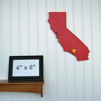 USC Trojans &quot;State Heart&quot; wall art, handcrafted wood with official team colors