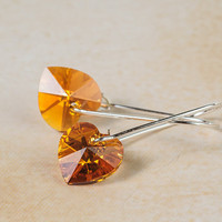 Orange Heart Earrings Swarovski Crystal Earrings Autumn Earrings Romantic Jewelry