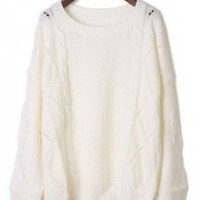 Sweet Twist Round Neck White Sweater - Designer Shoes|Bqueenshoes.com