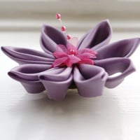 Lavender Hair Flower / Kanzashi Corsage / Fabric Flower Brooch / fascinator